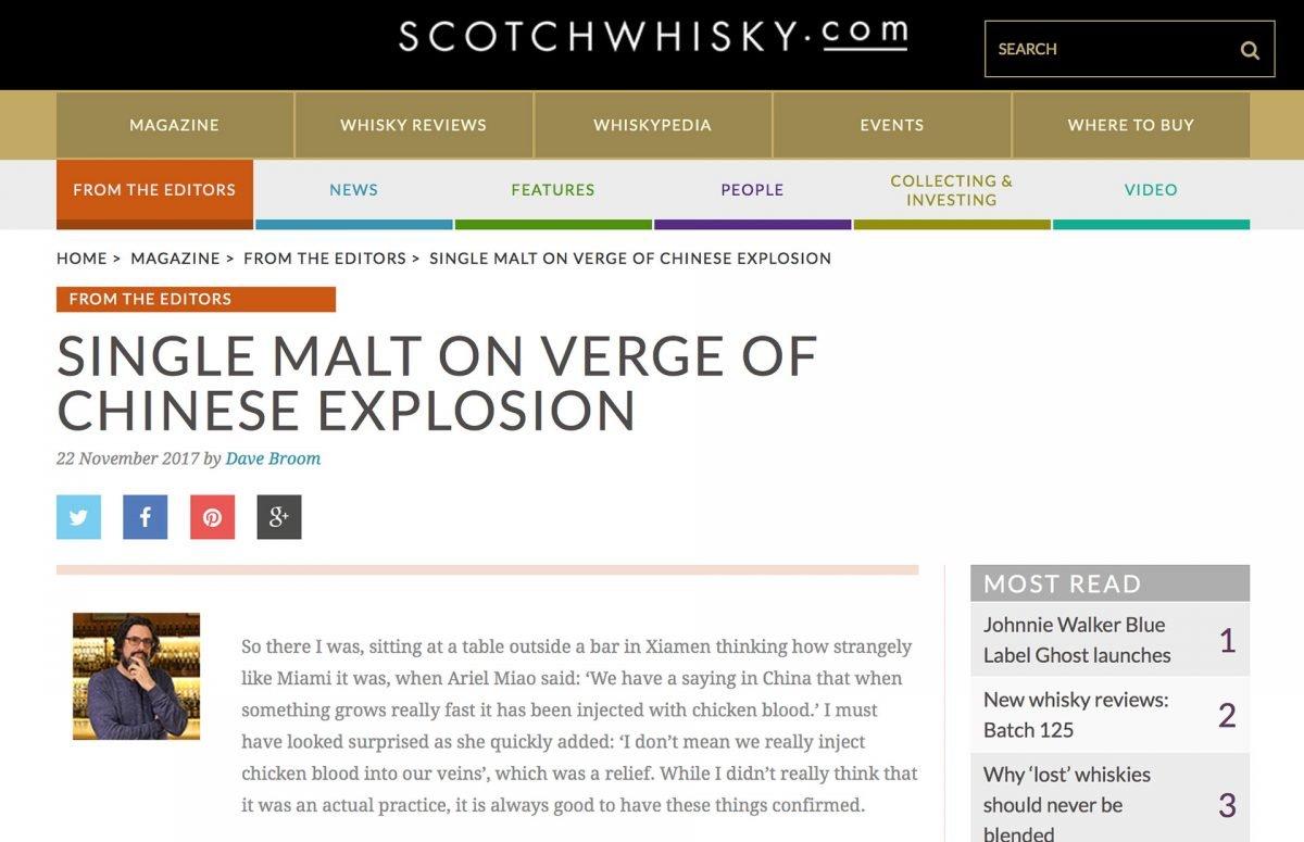 Explosionsartad utveckling för Single Malt whisky i Kina